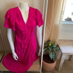 🌺 vintage nora noh fuschia silk wrap dress 🌺